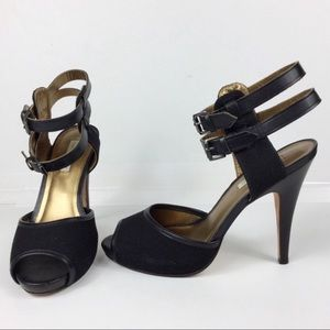 CYNTHIA VINCENT sexy strappy black heels, 5 in.